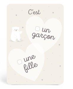 Carte annonce Fille ou garçon Ours blanc